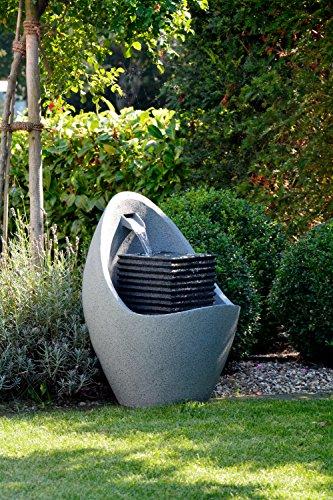 dobar Großer Design Garten-Brunnen mit Pumpe und LED´s, Polyresin, grau (steingrau), 38.7 x 32.3 x 80.3 cm, 96130e - 3