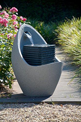 dobar Großer Design Garten-Brunnen mit Pumpe und LED´s, Polyresin, grau (steingrau), 38.7 x 32.3 x 80.3 cm, 96130e - 7