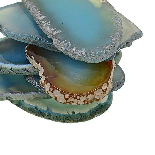 MagiDeal 6er Set Natürliche Achatscheiben gefärbte Achat Scheiben Poliert für DIY Schmuck Tischdeko - Aquamarinblau - 3