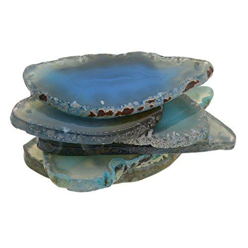 MagiDeal 6er Set Natürliche Achatscheiben gefärbte Achat Scheiben Poliert für DIY Schmuck Tischdeko - Aquamarinblau - 4