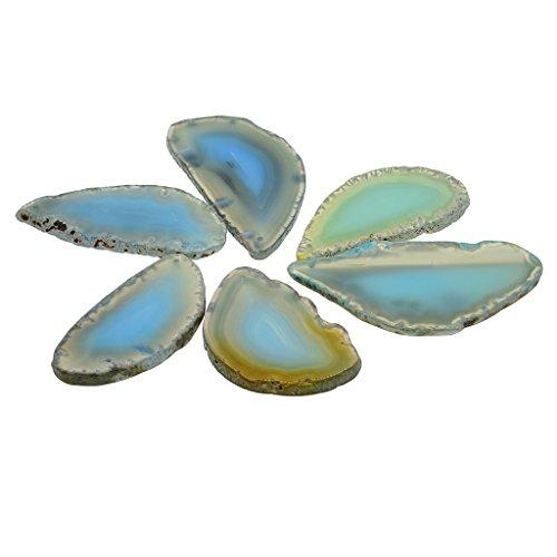 MagiDeal 6er Set Natürliche Achatscheiben gefärbte Achat Scheiben Poliert für DIY Schmuck Tischdeko - Aquamarinblau - 6