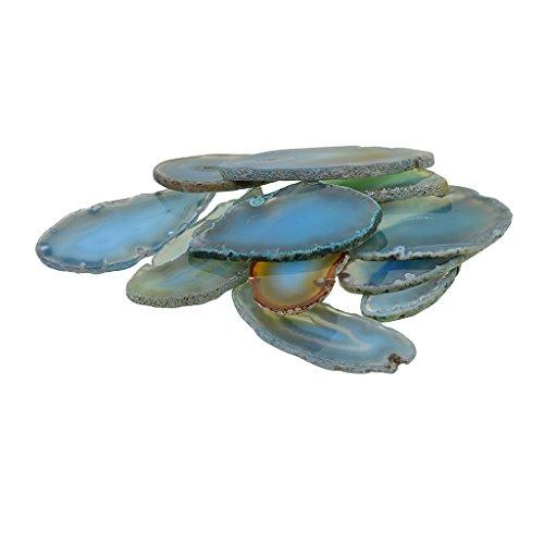 MagiDeal 6er Set Natürliche Achatscheiben gefärbte Achat Scheiben Poliert für DIY Schmuck Tischdeko - Aquamarinblau - 8