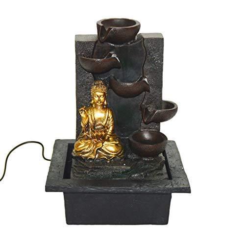 LED-Zimmerbrunnen mit Buddha und Wasserfall von DRULINE