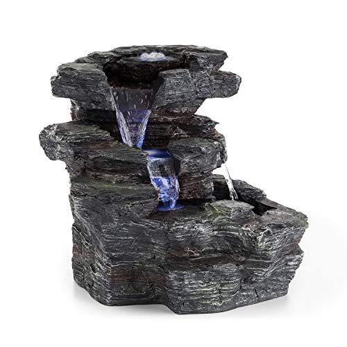 Kaskadenzimmerbrunnen mit Wasserfällen und drei Becken mit LED-Beleuchtung