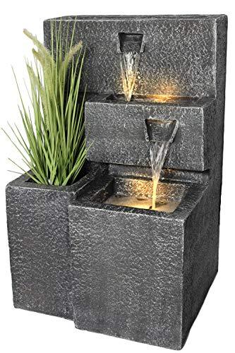 Zimmerspringbrunnen Grada mit LED-Beleuchtung und leerem Gefäß für eine Pflanze