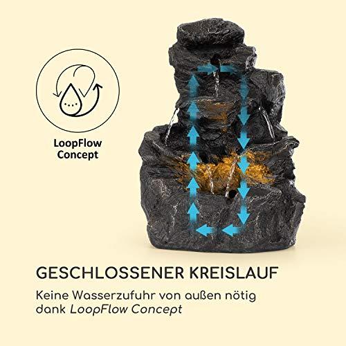 blumfeldt Rocky Waters Gartenbrunnen • LED-Beleuchtung • für drinnen und draußen • 2,5W • Material: Polyresin • UV- und frostbeständig • Loopflow Concept • Netzkabellänge: 10 m • anthrazit - 4