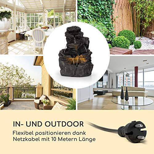 blumfeldt Rocky Waters Gartenbrunnen • LED-Beleuchtung • für drinnen und draußen • 2,5W • Material: Polyresin • UV- und frostbeständig • Loopflow Concept • Netzkabellänge: 10 m • anthrazit - 6