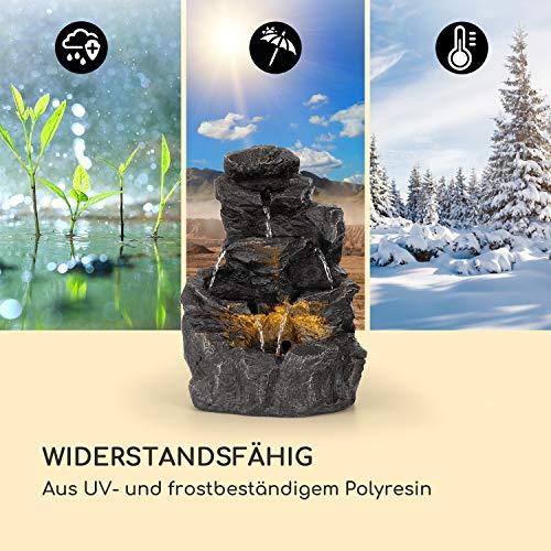 blumfeldt Rocky Waters Gartenbrunnen • LED-Beleuchtung • für drinnen und draußen • 2,5W • Material: Polyresin • UV- und frostbeständig • Loopflow Concept • Netzkabellänge: 10 m • anthrazit - 9