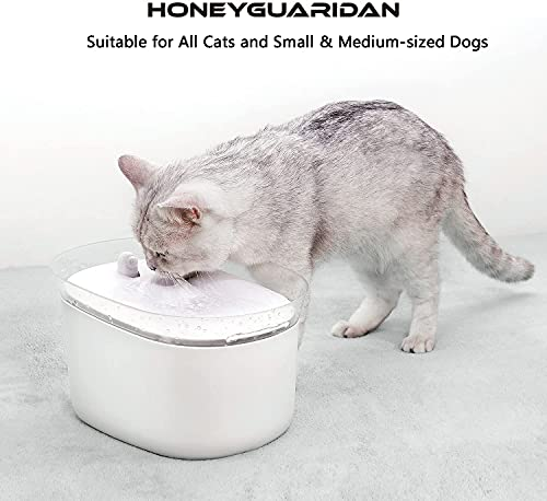 HoneyGuaridan automatischer Smart Haustier Wasserbrunnen mit Infraroterkennung, Haustier trinkbrunnen konzeptiert für Hunde und Katzen - Eine Packung mit 2 Karbonfilter - 5