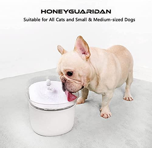 HoneyGuaridan automatischer Smart Haustier Wasserbrunnen mit Infraroterkennung, Haustier trinkbrunnen konzeptiert für Hunde und Katzen - Eine Packung mit 2 Karbonfilter - 6