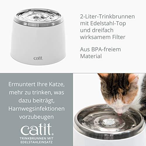 """Katzenbrunnen """"Fresh & Clear"""" mit Edelstahleinsatz von Catit 2 L - 9"""