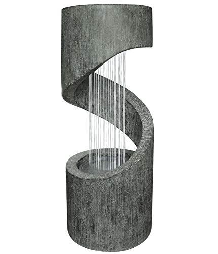 Zimmerbrunnen Mali mit Spiral-Skulptur und LED-Beleuchtung 80cm