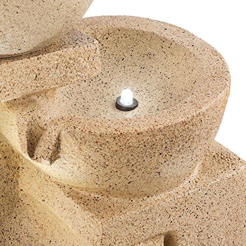 Blumfeldt Korinth Zierbrunnen - Gartenbrunnen, stimmungsvolles Wasserspiel, Solarbetrieb, 3 Watt Solar LED, Pumpe, 4 Etagen, 250 l/h Wasserfluss, Innen- oder Außenbereich, Sandsteinoptik - 4