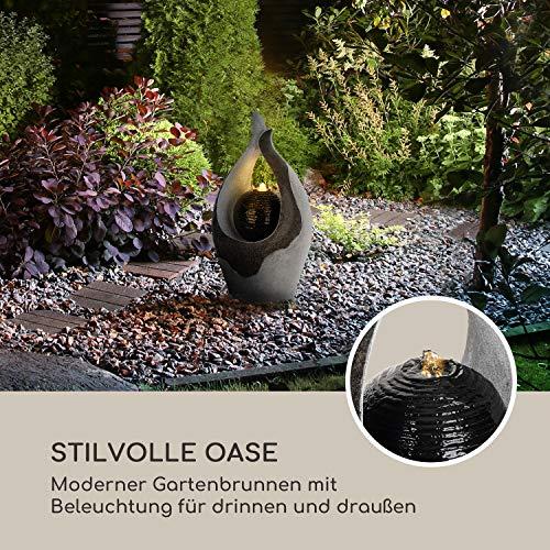 blumfeldt Noblino Gartenbrunnen - LED-Beleuchtung, für drinnen und draußen, 7W, Material: Polyresin, UV- und frostbeständig, Loopflow Concept, Netzkabellänge: 10m, automatische Luftbefeuchtung - 2