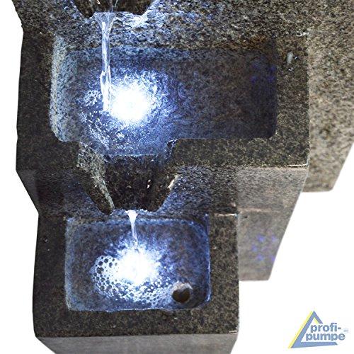 AMUR Gartenbrunnen Brunnen Zierbrunnen Zimmerbrunnen Brunnen GRANITWAND-Kaskade mit LED-Licht 230V Wasserfall Wasserspiel für Garten, Gartenteich, Terrasse, Teich, Balkon Sehr Dekorativ - 4