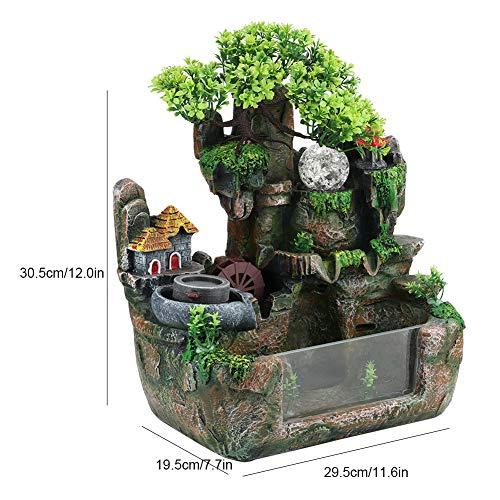 Tischplatte Brunnen, Mini Stille Indoor 12LED Wasserfall Brunnen Zen Meditation Desktop Simulation Harz Steingarten Brunnen Bonsai Wohnkultur mit Zerstäuber für Büro Schlafzimmer Entspannung(EU) - 9