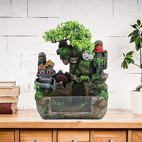 Tischplatte Brunnen, Mini Stille Indoor 12LED Wasserfall Brunnen Zen Meditation Desktop Simulation Harz Steingarten Brunnen Bonsai Wohnkultur mit Zerstäuber für Büro Schlafzimmer Entspannung(EU) - 2