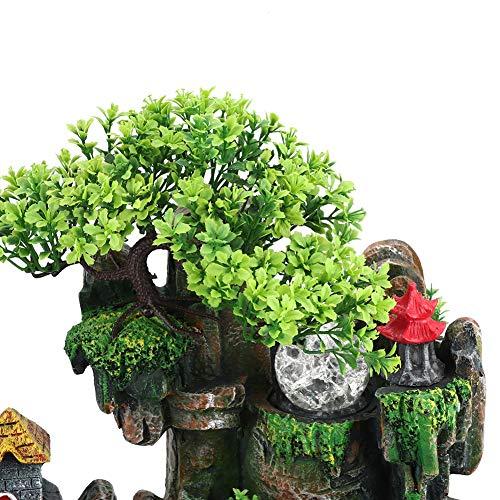 Tischplatte Brunnen, Mini Stille Indoor 12LED Wasserfall Brunnen Zen Meditation Desktop Simulation Harz Steingarten Brunnen Bonsai Wohnkultur mit Zerstäuber für Büro Schlafzimmer Entspannung(EU) - 3
