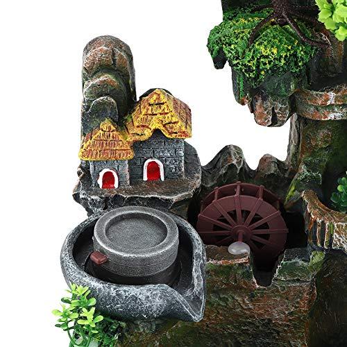 Tischplatte Brunnen, Mini Stille Indoor 12LED Wasserfall Brunnen Zen Meditation Desktop Simulation Harz Steingarten Brunnen Bonsai Wohnkultur mit Zerstäuber für Büro Schlafzimmer Entspannung(EU) - 4