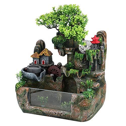 Tischplatte Brunnen, Mini Stille Indoor 12LED Wasserfall Brunnen Zen Meditation Desktop Simulation Harz Steingarten Brunnen Bonsai Wohnkultur mit Zerstäuber für Büro Schlafzimmer Entspannung(EU) - 7
