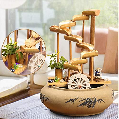 Bambusbrunnen mit mehreren Stufen und Mühlenrad - 5