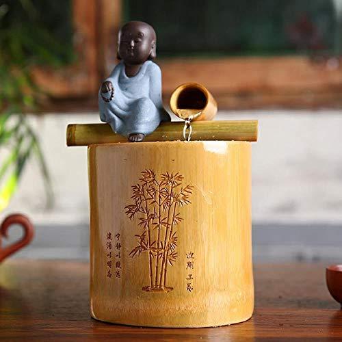 """Mini Bambusbrunnen mit Buddha Statue """"kleiner Mönch"""""""
