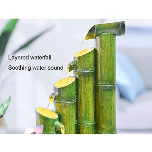 Harz Bambus Brunnen Wasserspiel Fließende Wohnzimmer Home Office Einrichtung Dekoration Brunnen Feng Shui,29cm - 3