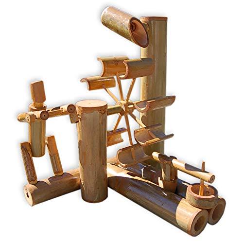 Bambus-Wasserspiel mit Wasserrad und Amboss