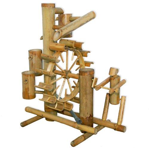 Bambus-Wasserspiel mit Wasserfall und Wasserrad
