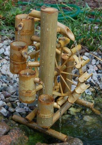 Bambus-Wasserspiel mit Wasserfall und Wasserrad - 3