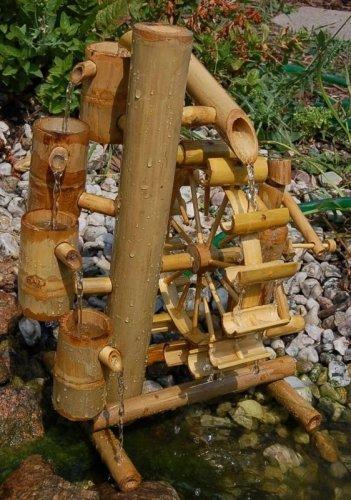 Bambus-Wasserspiel mit Wasserfall und Wasserrad - 4