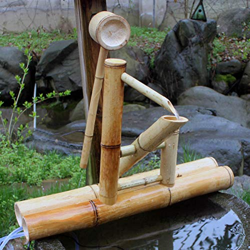 zenggp Zen Garden Water Fountain Bambus Wasserspiel Schaukelpumpe Wasserlandschaft , Japanische Gartendekoration - 3