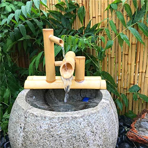 Bambus-Wasserspiel mit Mühlenrad und Mini-Buddha - 4