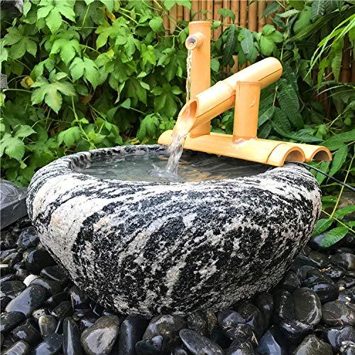 Bambus-Wasserspiel mit Mühlenrad und Mini-Buddha - 5