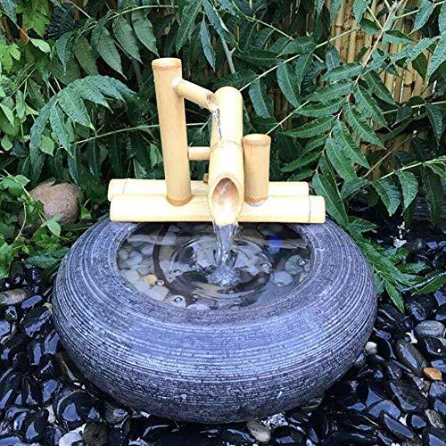 Bambus-Wasserspiel mit Mühlenrad und Mini-Buddha - 3
