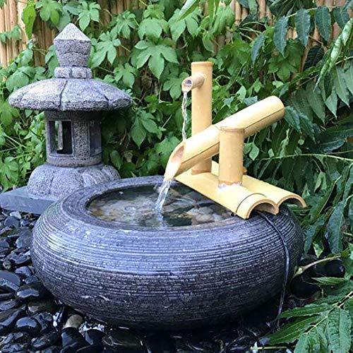 Bambus-Wasserspiel mit Wasserhahn und Wippe - 5
