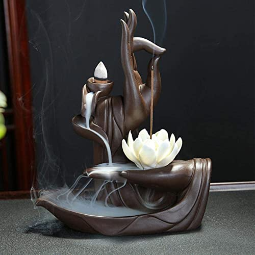 Rauchbrunnen Lotus aus Keramik mit Räucherstäbchenhalter
