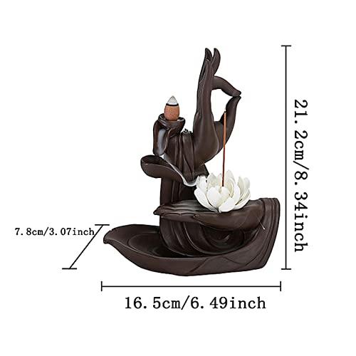 Rauchbrunnen Lotus aus Keramik mit Räucherstäbchenhalter - 3