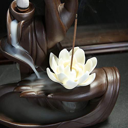Rauchbrunnen Lotus aus Keramik mit Räucherstäbchenhalter - 4