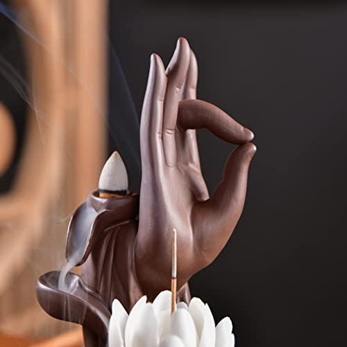 Rauchbrunnen Lotus aus Keramik mit Räucherstäbchenhalter - 5