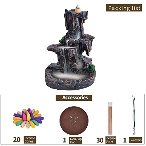 Mountain Waterfall Glasur Rückfluss Räuchergefäß Rückfluss Räucherstäbchenhalter Schwenkräuchergefäß mit 10Kegel in Exquisite Geschenk Box 14,5x 13x 19cm - 7