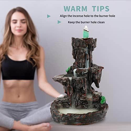 Mountain Waterfall Glasur Rückfluss Räuchergefäß Rückfluss Räucherstäbchenhalter Schwenkräuchergefäß mit 10Kegel in Exquisite Geschenk Box 14,5x 13x 19cm - 5