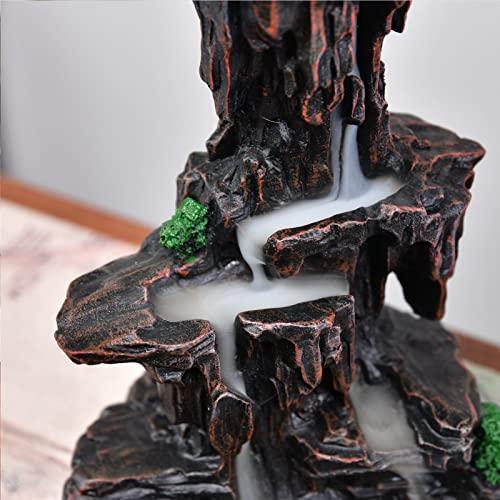 Mountain Waterfall Glasur Rückfluss Räuchergefäß Rückfluss Räucherstäbchenhalter Schwenkräuchergefäß mit 10Kegel in Exquisite Geschenk Box 14,5x 13x 19cm - 3