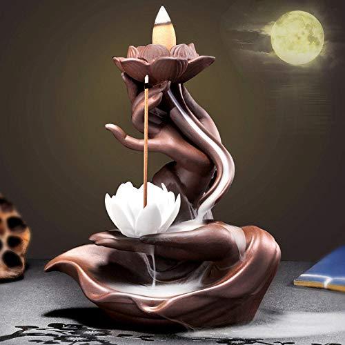 Räucherbrunnen in Buddha-/Lotusdesign mit Räucherstäbchenhalter aus Keramik
