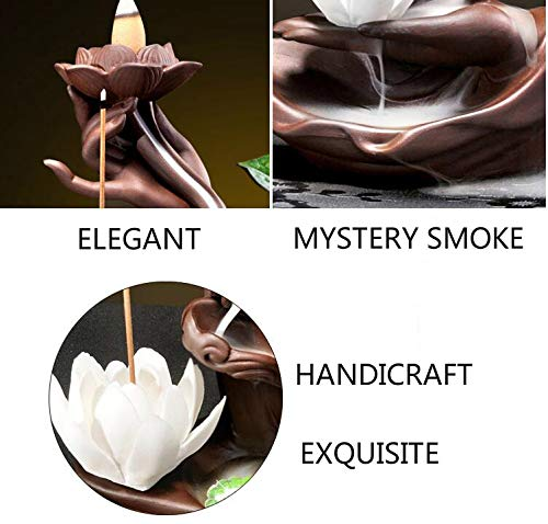 Räucherbrunnen in Buddha-/Lotusdesign mit Räucherstäbchenhalter aus Keramik - 3