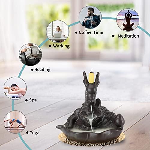 Rauchbrunnen in Drachendesign mit Räucherstäbchenhalter aus Keramik - 2