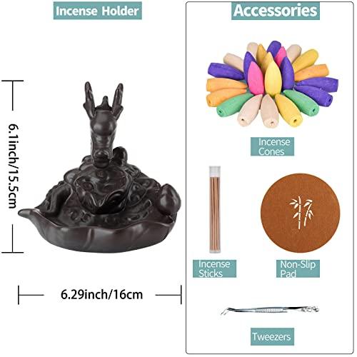 Rauchbrunnen in Drachendesign mit Räucherstäbchenhalter aus Keramik - 3