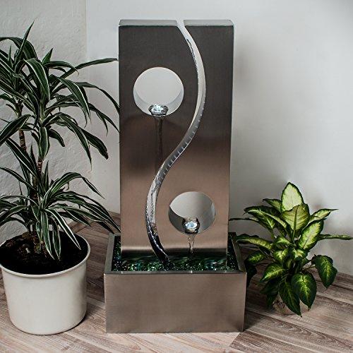 Wasserwand Yin Yang mit LED-Beleuchtung und Edelstahlbecken 90 cm Höhe