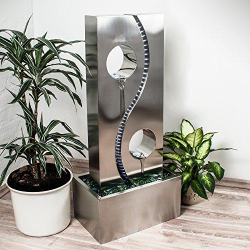 Köhko® Wassserwand Yin Yang mit LED-Beleuchtung Höhe ca. 90 cm Springbrunnen Wasserspiel mit Edelstahlbecken - 3