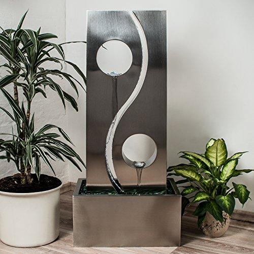 Köhko® Wassserwand Yin Yang mit LED-Beleuchtung Höhe ca. 90 cm Springbrunnen Wasserspiel mit Edelstahlbecken - 4